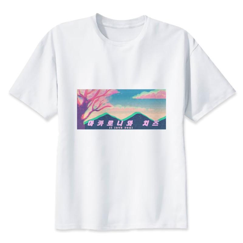 Vaporwave 2019 di Alta Qualità di Marca del Cotone T-Shirt Del Ricamo T-Shirt Corta Da Uomo Casual y2268