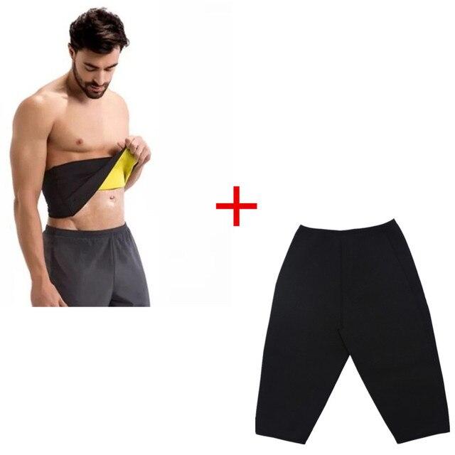 RiauDe Neoprene Sweat Shaper Pants&Belt &Short Sleeve shaperwear Super Stretch control Slimming Pants&T-shirt&Shapers belts Set 2
