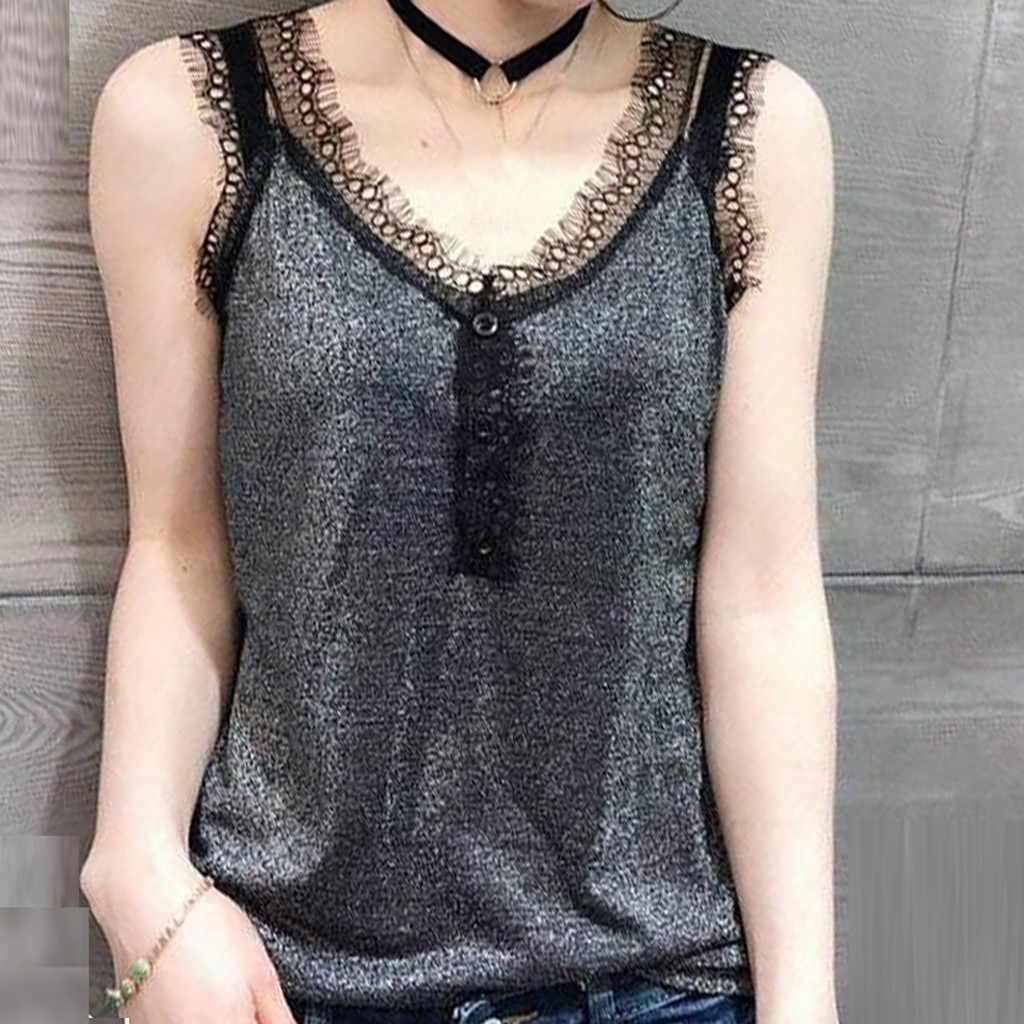 BlusasMujerDeModa2019FrauenBluseHemdMode Frauen Tops Spitze V-ausschnitt KoreanVest Sexy Ärmel Reine Farbe Bluse