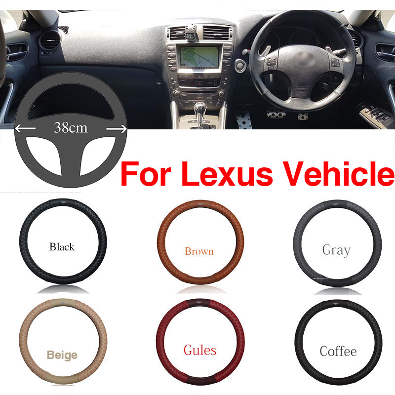 Ipoboo Top PU Leather Diamond weave Plaid Anti-Slip Steering Wheel 6 Colour Choice Cover For Lexus Series Vehicle
