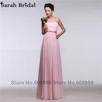 우아한 핑크 쉬폰 들러리 드레스 2017 끈이 주름 쉬폰 층 길이 긴 정장 드레스 메이드 honor vestidos