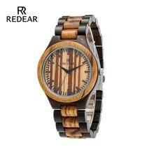 남자를위한 REDEAR 지브라 우드 & 블랙 샌들 우드 시계 Two-tone Quartz Watches 시계 선물 디자이너의 브랜드 디자이너