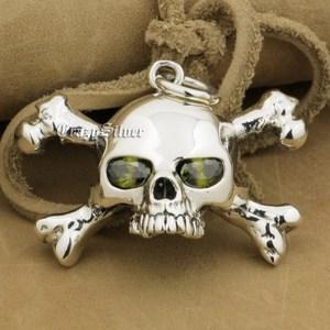 Image 5 - 925 Sterling Silver CZ Eyes Skull Cross Bone Mens Biker Rocker Punk Pendant 9V024 Just Pendant