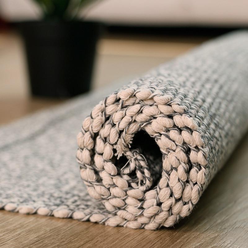 High Light Grey Design Tessel Edge Cotton Area Rug For Bedside Living Room Tapetes Para Casa Sala Tapis Salon