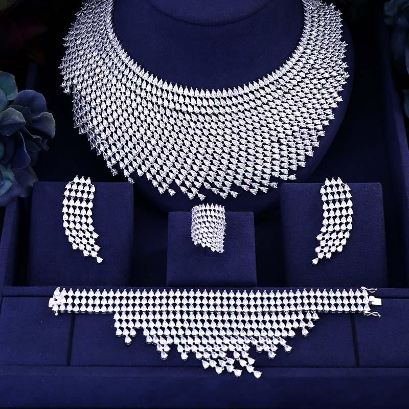 Janekelly Drop-Jewelry-Set Indian Cubic-Zircon Gold-Dubai Wedding Big-Nigerian Women