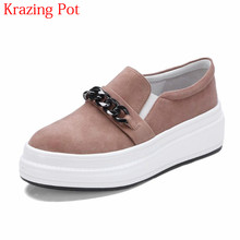 2018 Brand Spring Shoe Sheep Suede Metal Chains Platform Loafer Sneakers for Women Round Toe Slip on Female Vulcanized Shoes L61(China)