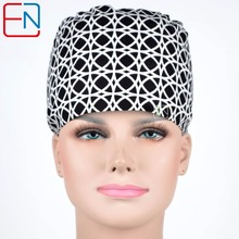 unisex surgical caps in black with white circles