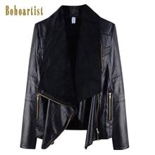 Bohoartist PU Leather Jacket Women Bohemian Black Zipper Motorcycle Jackets Basic Coat Punk Fashion Female Warm Autumn Outerwear