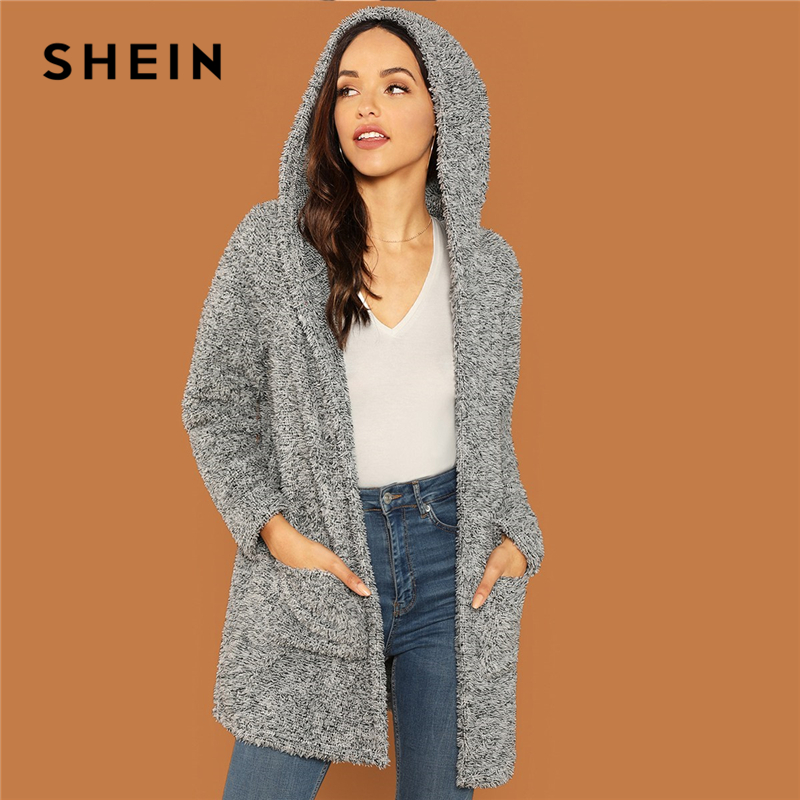 SHEIN Grey Casual Solid Hooded Pocket Patched Marled Teddy Jacket Autumn Campus Going Out Women Coat And Outerwear