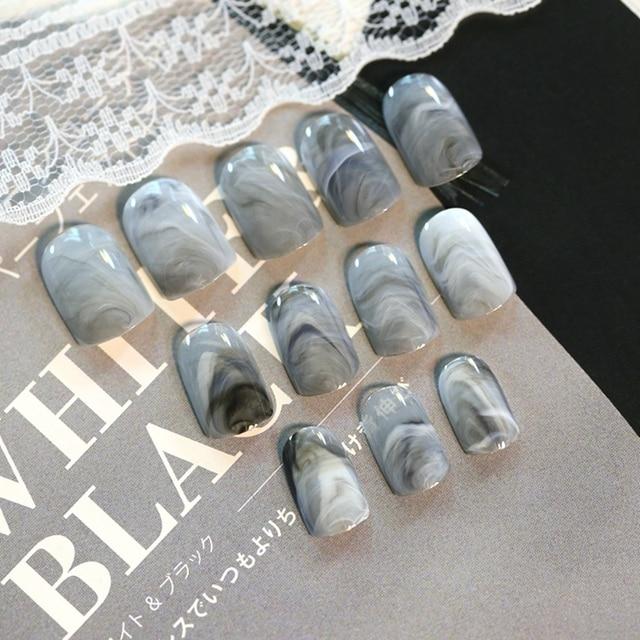 24Pcs/Set Grey Marble Design Lady Nails Acrylic Full False Nail Tips ...