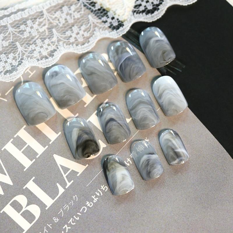 24Pcs/Set Grey Marble Design Lady Nails Acrylic Full False Nail Tips Nail Art Fake Nails Tools + Duo Side Sticker Z141