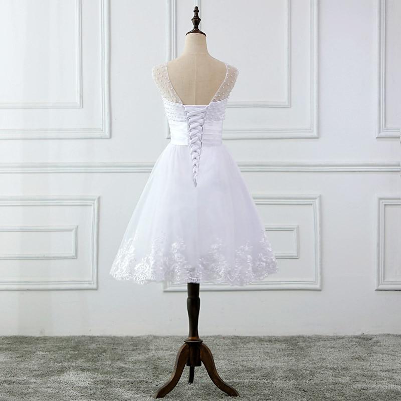JIERUIZE vestidos de novia Mežģīņu aplikācijas Pērles īsās - Kāzu kleitas - Foto 4