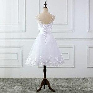 Image 4 - Jieruize vestidos de noiva, vestidos de noiva de renda com apliques de pérolas, curtos, lace up, baratos, de mariee