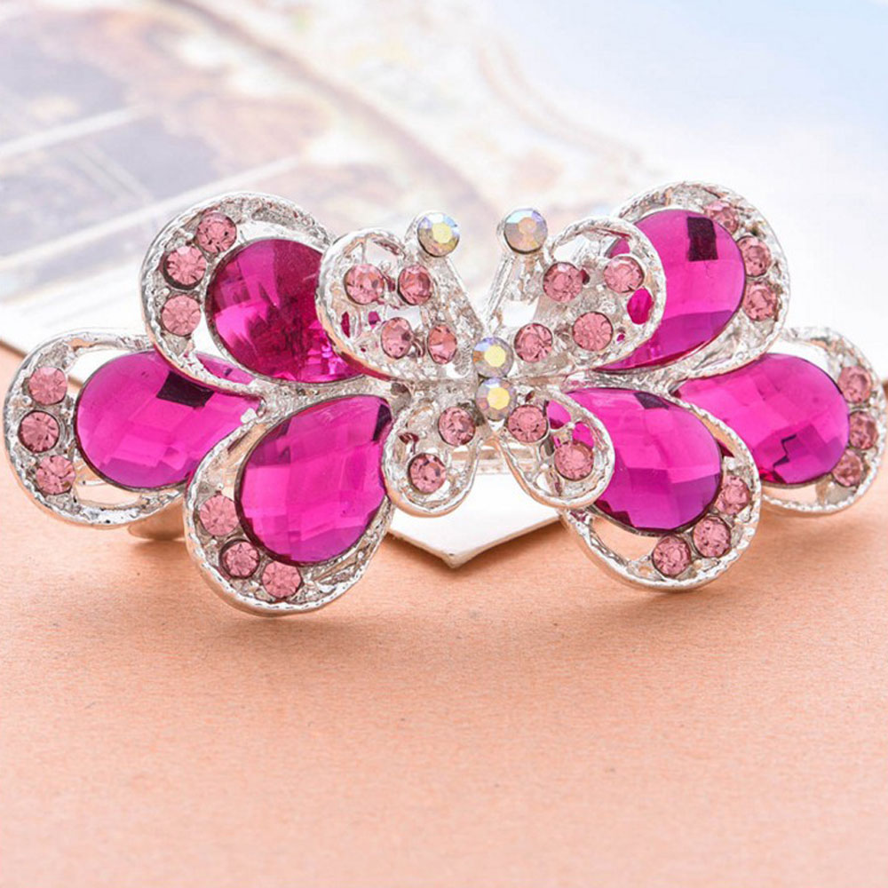 1 pc Retro Vintage Hairpins Ladies Crystal Butterfly Hair clip girl barrette hair accessories for women pink blue color halloween party zombie skull skeleton hand bone claw hairpin punk hair clip for women girl hair accessories headwear 1 pcs