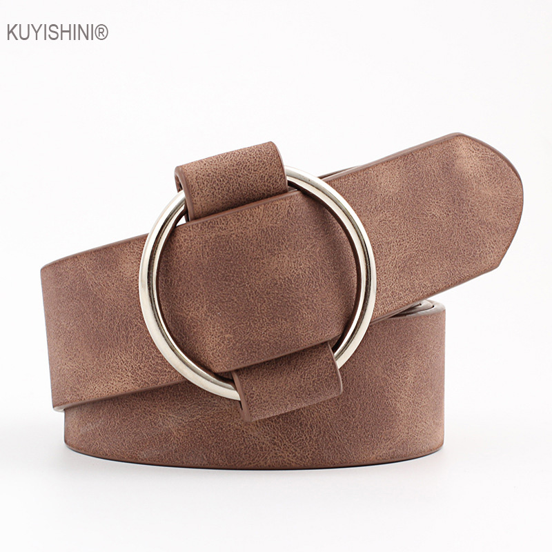 Faux Women Leather Round Pin Buckle Belt