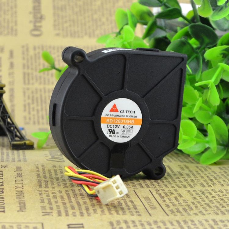100 stks / partij Y.S.TECH 6018 BD126018HB Borstelloze Blower Koeler Koelventilator 12 V 0.35A 3 Wire 3Pin Connector voor Dlink 3324SR