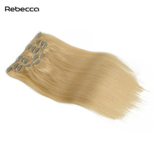Rebecca Hair Brazilian Remy Hair Straight 613 Blonde Clips In Human Hair Extensions For African American Hair 7pcs/set 120g/set
