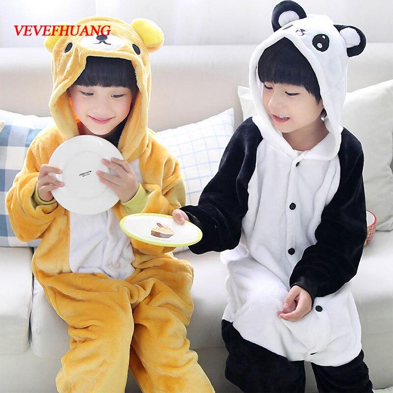 VEVEFHUANG Rilakkuma Panda Children Pajamas Animal Flannel Kids Pajamas Winter Cartoon Cosplay Onesies Pyjamas For Boys