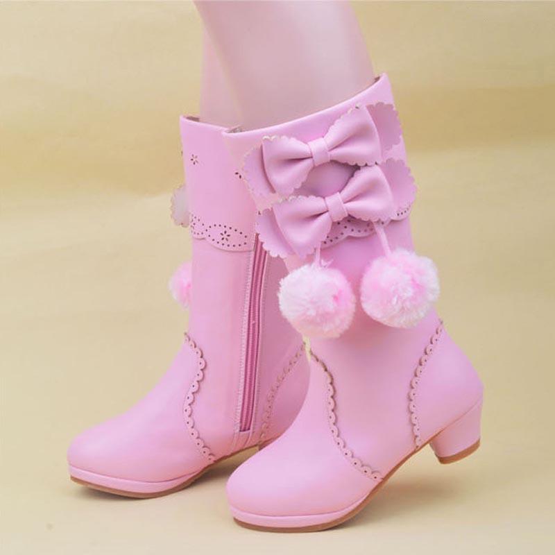 Girls boots 2018 winter shoes princess high boots flower pretty girls shoes children snow boots ...