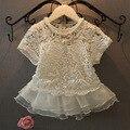 2015 new summer clothes suit fashion lave blouse+vest 2pcs kids girls clothing sets roupas infantis menina for 2~7 age baby