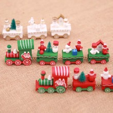 Christmas Wood Train Mini Xmas train Wooden Toy Model vehicle toys for children New Year Gift Home Decoration Kids