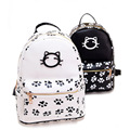 Fashion Women Cat Leather Backpack Black White Cartoon Katty Printing Cute Girls Casual Rucksack for Teenage Girls mochila XA515