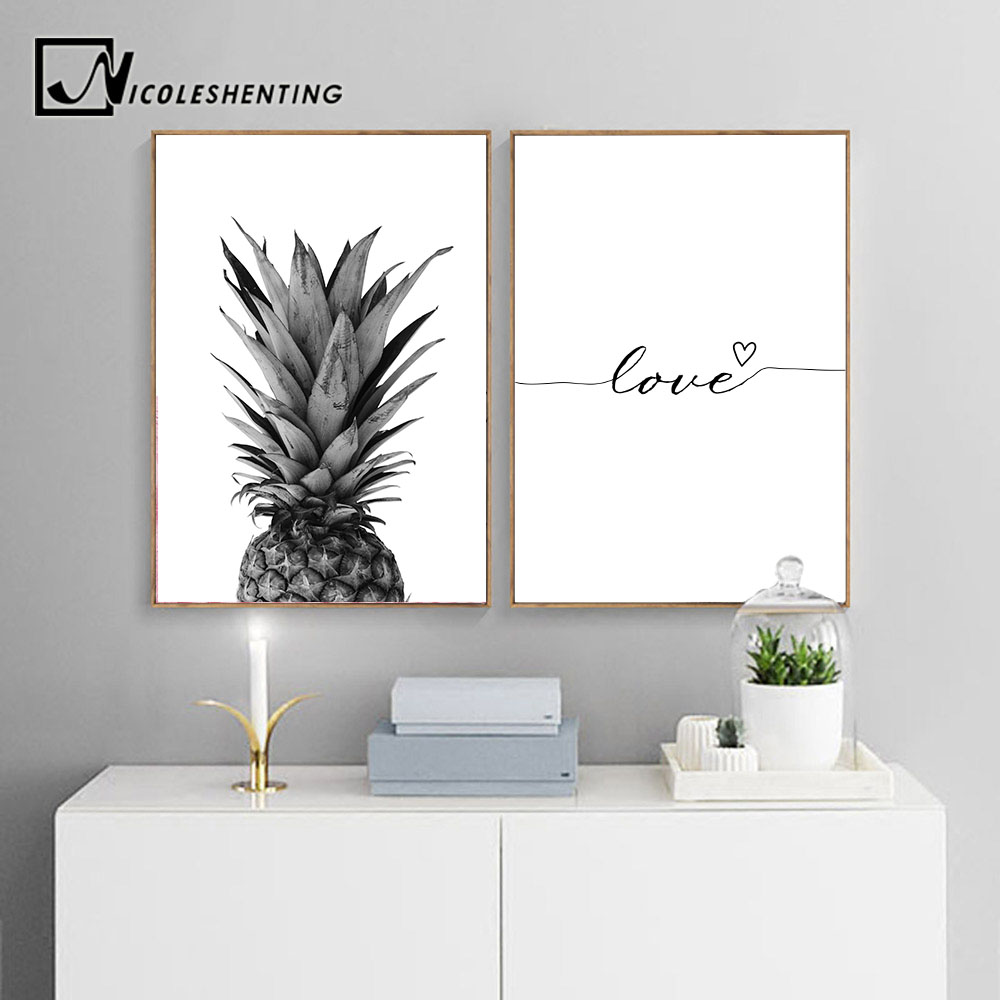 все цены на NICOLESHENTING Pineapple Wall Art Canvas Posters Prints Nordic Love Quote Paintings Black White Wall Picture for Living Room