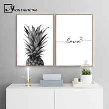 цена на NICOLESHENTING Pineapple Wall Art Canvas Posters Prints Nordic Love Quote Paintings Black White Wall Picture for Living Room