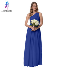 Royal Blue Bridesmaid Dresses Chiffon One Shoulder Pockets Floor Length Side Zipper Wedding Party Dress Custom Made