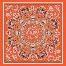 hijab scarf silk female retro geometry brand 110 cm printed square imitation muslim plain vintage