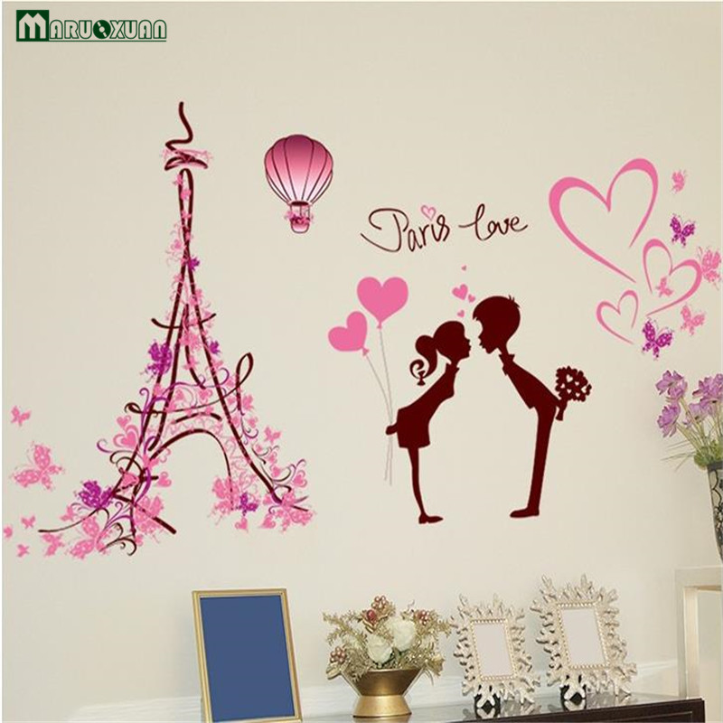 YunXi Pink Love In Paris Couple Stickers Bedroom Bedside Living Room Background Decoration Wallpaper Wall 11361CM From Home