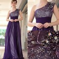 Amazing Beads One Should A Line Floor Length Purple Bridesmaid Dress Custom Made Tulle Dress