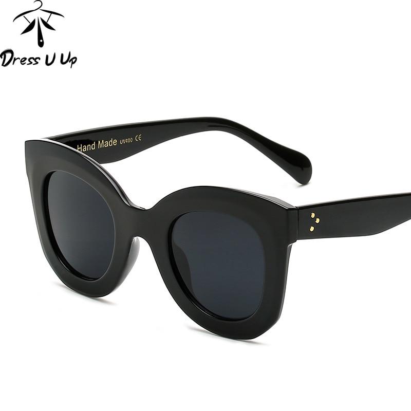 DRESSUUP Fashion Big Frame Solbriller Kvinder Brand Designer Vintage Rivet Shades Kvinder Solbriller Oculos De Sol Feminino