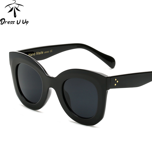 DRESSUUP Fashion Big Frame Sunglasses Women Brand Designer Vintage Rivet Shades Female Sun Glasses Oculos De Sol Feminino