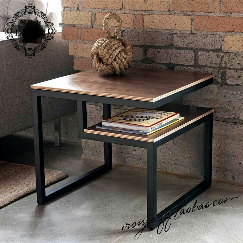 US $379.99 |Coffee Tables Living Room Furniture Home Furniture American  style wood +iron side table basse square small end table 50*50*45cm-in  Coffee ...