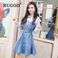 RUGOD Korean chic tunice women denim dress Fashion long sleeve auturm hooded party dresses vestidos Elegant mini jeans dresses
