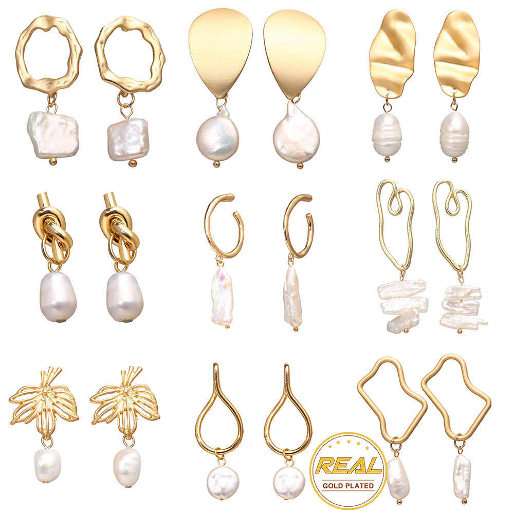 IF YOU Korean Fashion Natural Freshwater Pearl Dangle Earrings 2019 New For Women Girl Vintage Gold Color Drop Earring Brincos