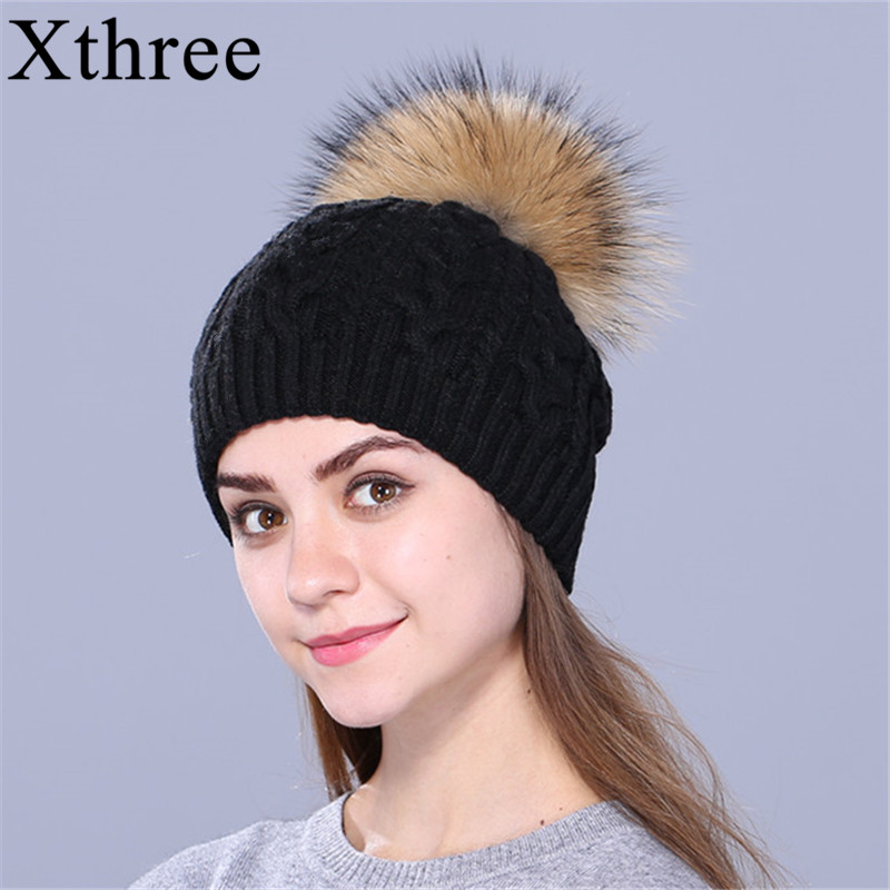 Xthree Double-deck Knitted Wool Winter hat Real Natural Raccoon Fur Pom pon Hat Female Cap Headgear For Women   Skullies     Beanies