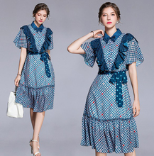 PADEGAO Women Party Dress Bow Sashes Blue Wave Point Print Office Lady Dresses Vintage Knee-Length Womens Clothing 2019 New