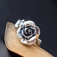 Ecoworld Ge Jewelry Wholesale S925 Sterling Silver Ring Ring Ring Silver Silver Female Retro Rose Opening