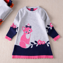 2016 new winter fashion cotton long-sleeved round neck small fox girls hedging sweater knit dress children's clothing