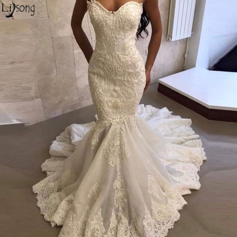 Luxury Heavy Bead Mermaid Wedding Dress 2019 Strapless