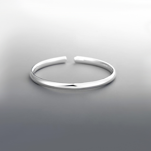 Simple Bangle 925 Sterling Silver Bangle Bracelet Adjustable Open Silver Classic Jewelry 5MM Silvery Bangle