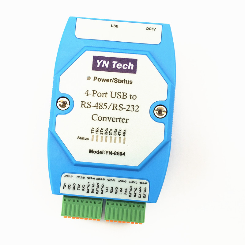 YN8604 USB Conversion of 4 Port RS485/232 Four Road RS232 to USB Serial Port Line COM Port Conversion Industry hightek hk 5110a industrial grade 1 port rs232 485 to 4 port rs485 hub each port with optical isolation 600w thunder protection