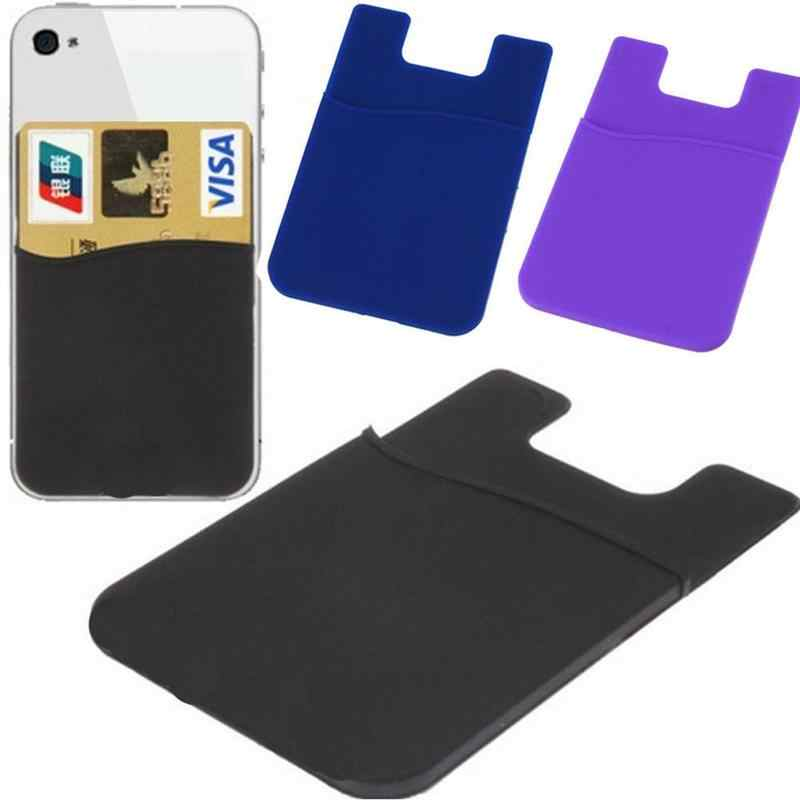 Adhesive Silicone Credit Card Pocket Money Pouch Holder Case For Cell Phone New
