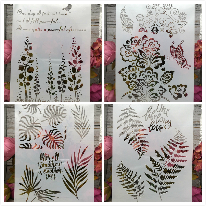 4Pcs/Lot A4 Leaves Butterfly Tree DIY Layering Stencils Painting Scrapbook Coloring Embossing Album Decorative Card Template