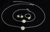 2017 Nowych przyjazdowych gorących bubla trochę marguerite 925 sterling silver ladies'jewelry zestaw/pierścienie/bransoletki/naszyjniki/stud kolczyki