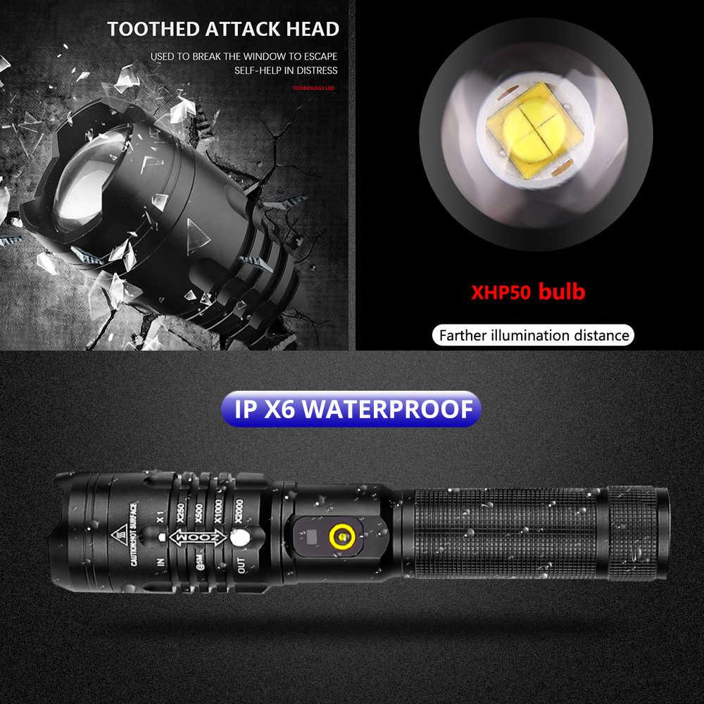 ไฟฉาย LED ที่มีประสิทธิภาพ XHP50.2 ชาร์จไฟฉาย XHP70.2 USB ZOOM โคมไฟ XHP50 ล่าสัตว์ Self Defense 18650