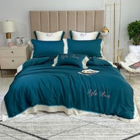 Tencel Bedding Set Embroidery Bed Set Queen King size Bed Sheet Luxury broad brimmed Duvet Cover Set Four or seven pieces