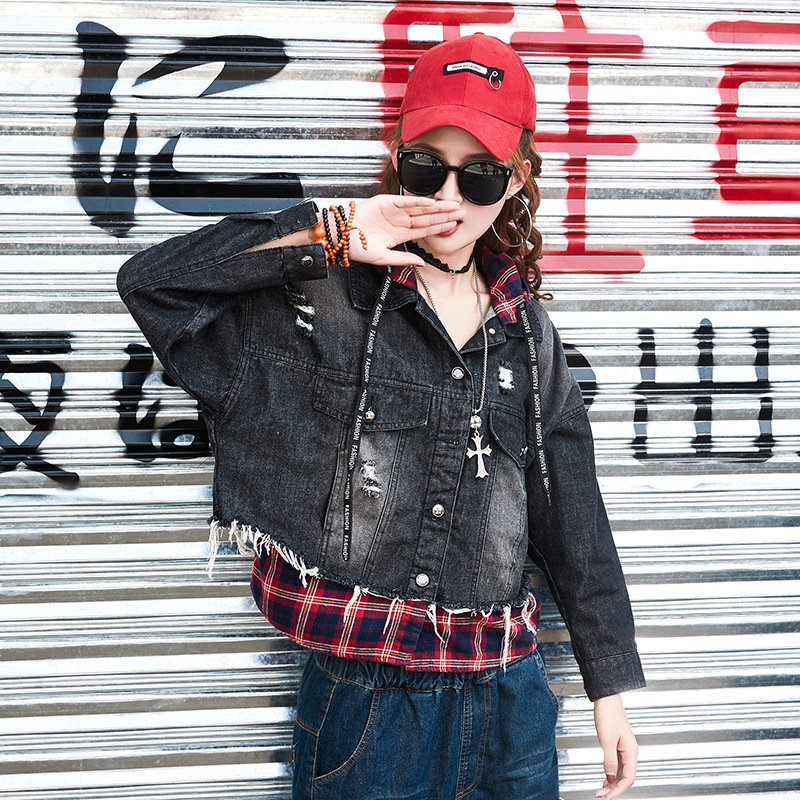 Yalabovso 2018 Newest Hip Hop Styles Hooded Jacket Cool Loose Irruglar Coat Retro WASHED Patchwork Denim Coat for woman A81 Z20